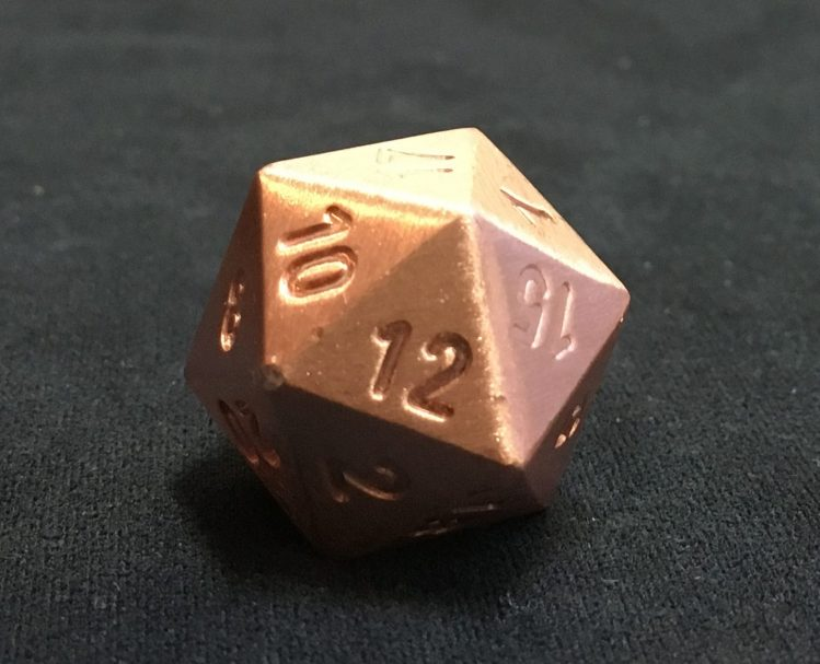Dings and dents on pure copper d20
