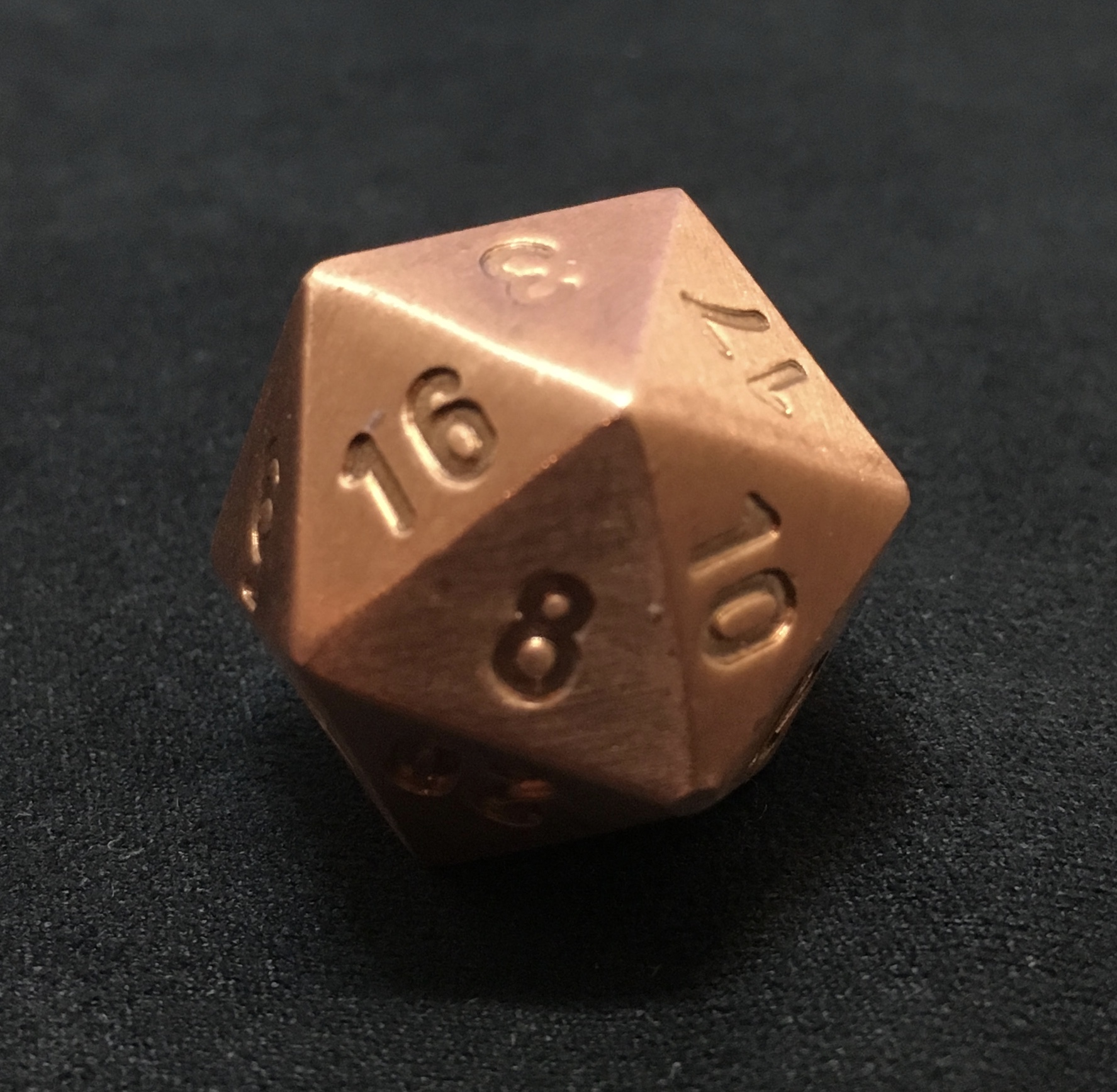 Pure copper d20 number depth