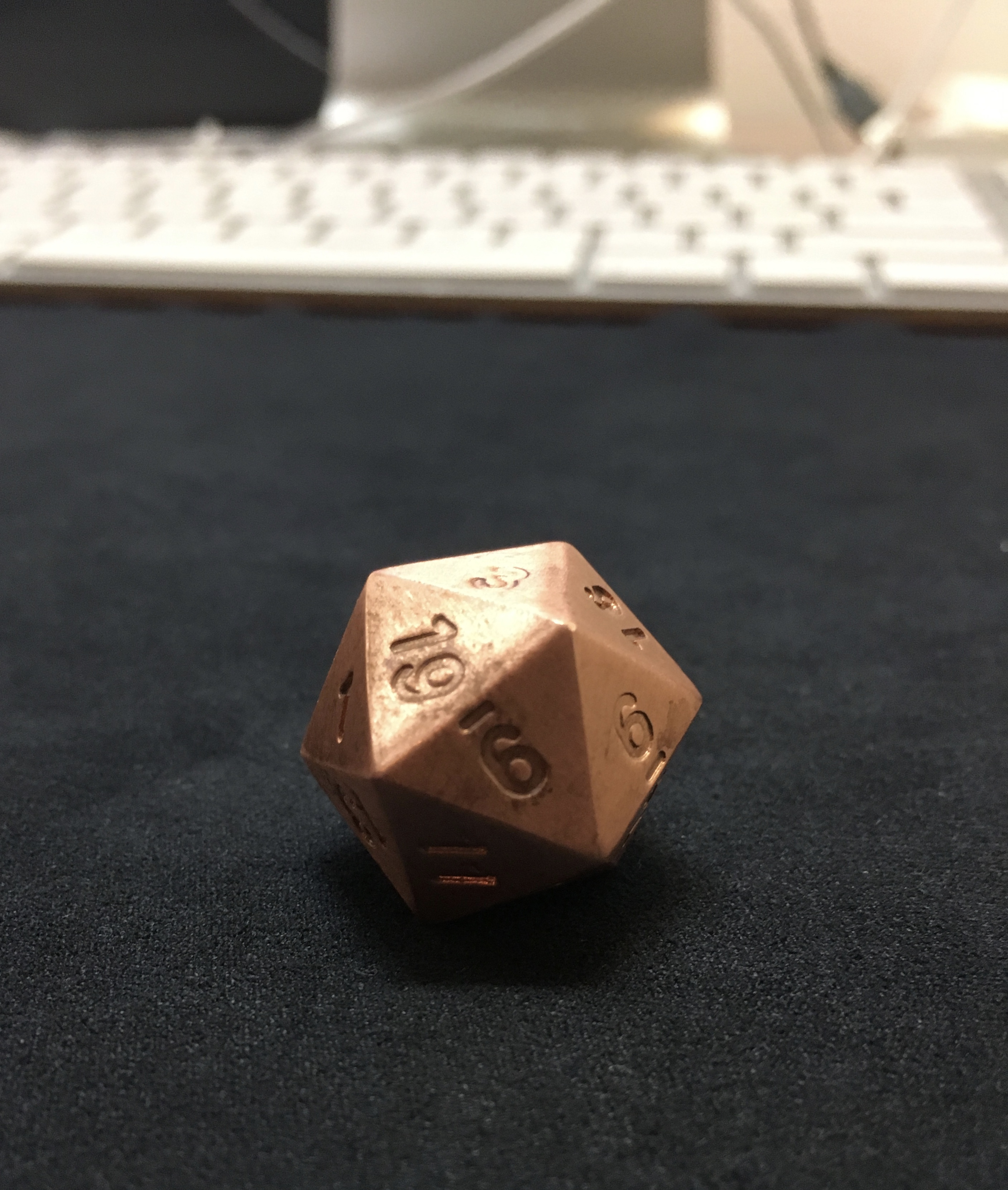 Pure copper d20 tarnish